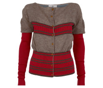Square Cardigan Red/Brown Stripes