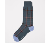 Tartan Check Socks With Tipping Teal