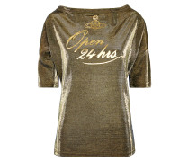 Anglomania Middling Long T-Shirt 24 Hours Print Gold