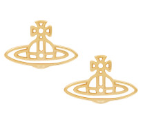 Anglomania Thin Lines Flat Orb Gold Stud Earrings