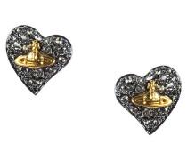 Anglomania Tiny Diamante Gunmetal Heart Stud Earring