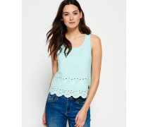 Damen Beach Broderie Shell Top türkis