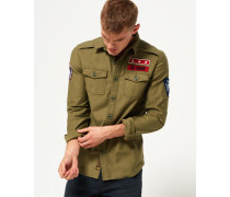 Herren Army Corps Langarmhemd grün