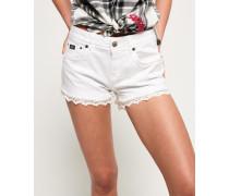 Damen Hot Shorts mit Spitzenbesatz weiß