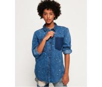 Damen Übergroßes Jeanshemd blau