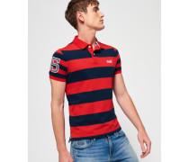 Herren Louder Polohemd mit kurzen Ärmeln und Streifen rot
