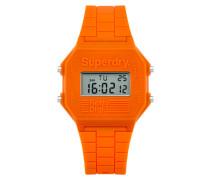 Herren Retro Digi Colour Block Armbanduhr orange