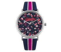 Damen Oxford Armbanduhr mit Blümchenmuster blau