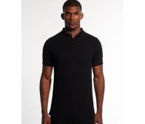 Herren Refined Piqué Polo-Shirt schwarz