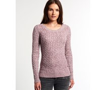 Damen Croyde Twist Cable Strickpulli rot
