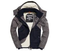 Herren Hooded Wind Hybrid Jacke grau