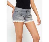 Damen Hot Shorts mit Spitze grau