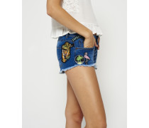 Damen Denim Hot Shorts mit Aufnäher blau