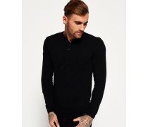 Herren Orange Label Grandad-Strickpulli schwarz