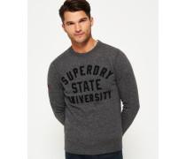 Herren Rundhals-Sweatshirt mit Applikation grau