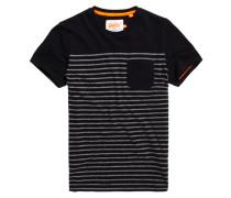 Herren Solent Stripe Pocket T-Shirt schwarz