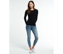 Damen Luxe Wollpullover mit Rippstrick schwarz