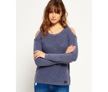 Damen Waffle Stitch Cold Shoulder Strickpulli blau