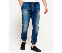 Herren Drawstring Jeans blau