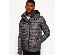 Herren Fuji Jacke mit Doppelreißverschluss, Print und Kapuze grau
