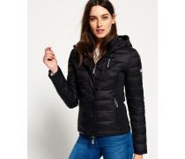 Damen Hooded Fuji Slim Jacke mit Doppelreißverschluss schwarz