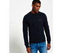Herren Rundhals-Sweatshirt mit Applikation marineblau