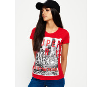 Damen Chicago T-Shirt mit großem Fotoprint rot