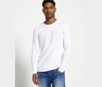 Herren Embossed Vintage Logo Long Sleeve T-Shirt weiß