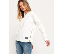 Damen Kastenförmiges 3D Sweatshirt weiß