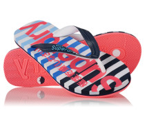Damen Eva Stripe Flipflops marineblau
