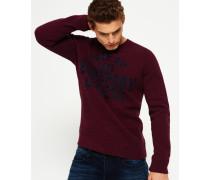 Herren Rundhals-Sweatshirt mit Applikation rot