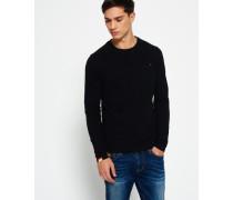 Herren Vintage Langarm-T-Shirt mit Stickerei schwarz