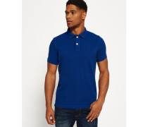 Herren Vintage Destroyed Piqué Polo-Shirt blau