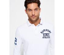 Herren Super State Langarm-Polohemd weiß