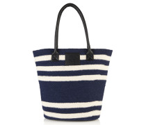 Damen Gestreifte Strandtasche marineblau