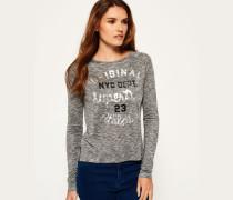 Damen Slubby Strickshirt mit Grafik grau