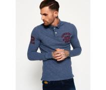 Herren Super State Langarm-Polohemd blau