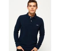 Herren Klassisches Polohemd aus Pikee mit langen Ärmeln marineblau
