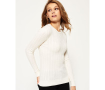 Damen Luxe Mini Cable Strickpulli creme
