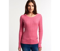 Damen New Croyde Cable Strickpulli rot