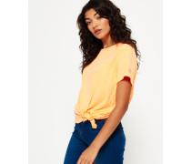 Damen Ausbrenner-T-Shirt mit Knoten koralle