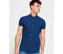 Herren Kurzärmeliges London Loom Hemd blau