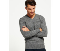 Herren Orange Label Strickpullover mit V-Ausschnitt Grey