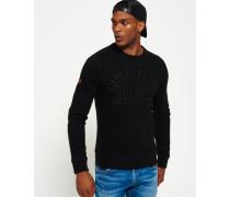Herren Rundhals-Sweatshirt mit Applikation schwarz