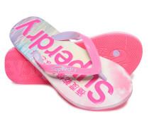 Damen Flipflops mit durchgehendem Print pink