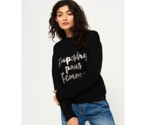 Damen Northern Lights Fashion Rundhalssweatshirt schwarz