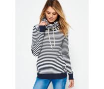 Damen Stripe Funnel Neck Shirt marineblau