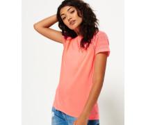 Damen Besticktes T-Shirt mit Raglanärmeln koralle