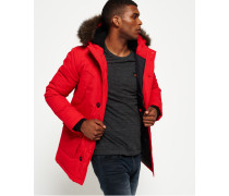 Herren Everest Mantel mit Kunstfellbesatz rot
