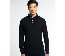Herren Langärmliges Classic Piqué Polo-Shirt schwarz